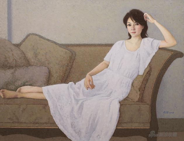 靳尚谊 靠在沙发上的女士 布面油画 80×110cm 2018年