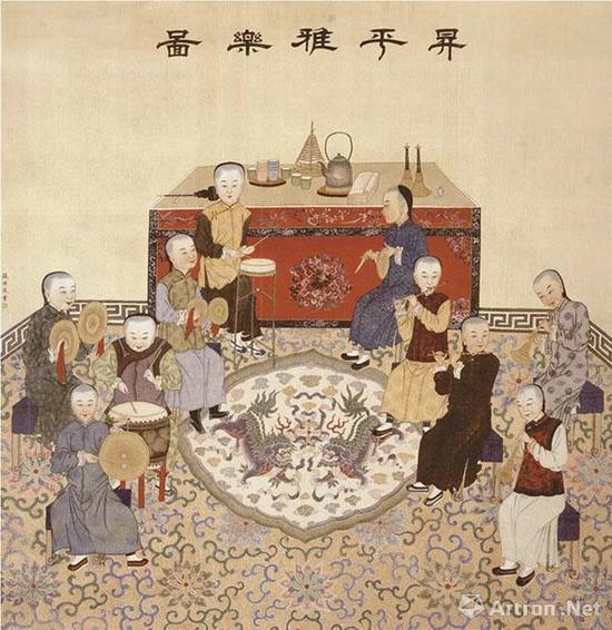 张恺 升平雅乐图 绢本设色   纵129.7厘米 横120.1厘米 北京故宫博物院藏