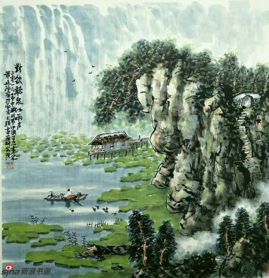 《对饮听泉似雨声》,69cmX69cm,2016年,黄廷海作