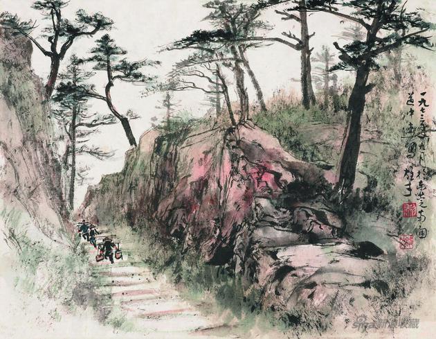 《东莞道中》 25x32cm 1973年 纸本设色 岭南画派纪念馆藏