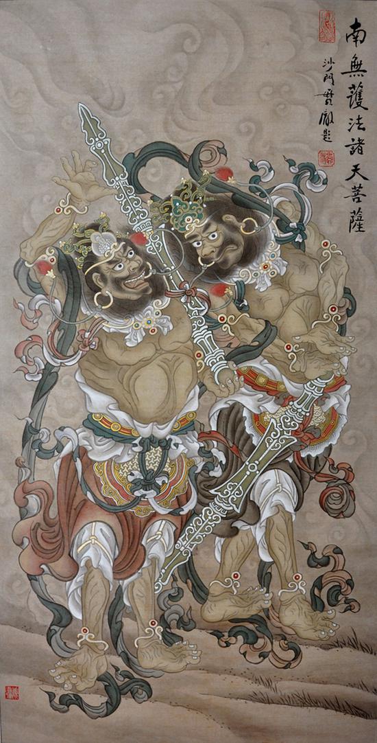 姜雪雁 哼哈二将 纸本设色 135 x 70 cm 2014