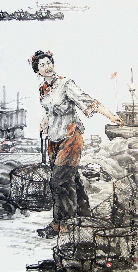张会元作品《湄州渔歌》136cmX68cm 2008年
