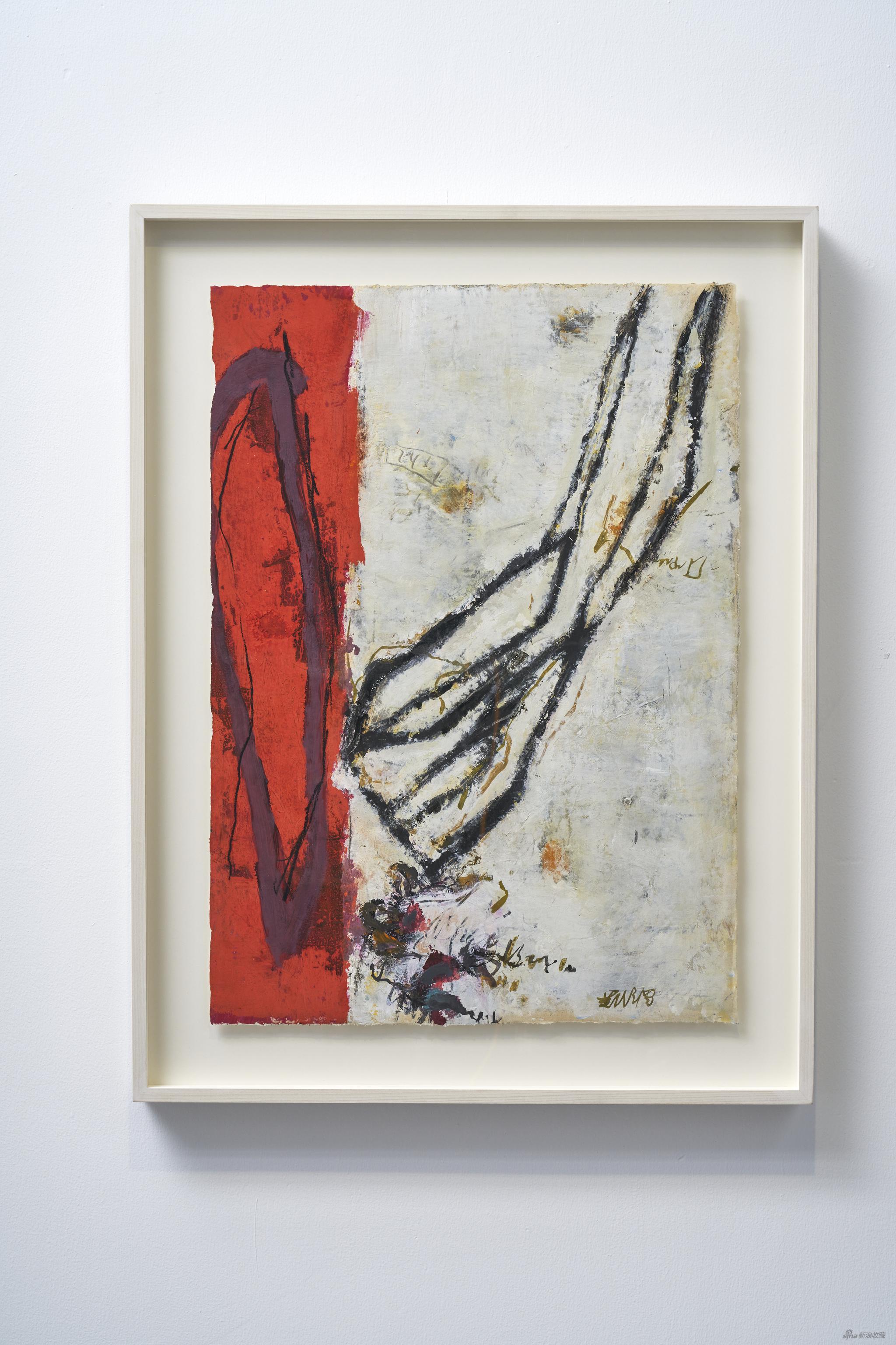 黄渊青HUANG Yuanqin,无题Untitled,1998-2020,宣纸综合材料Mixed media on rice paper,77 x 55 cm