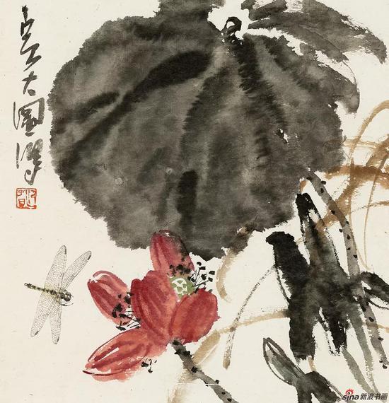 王迎春作品《红莲》49cm × 49.5cm 2015