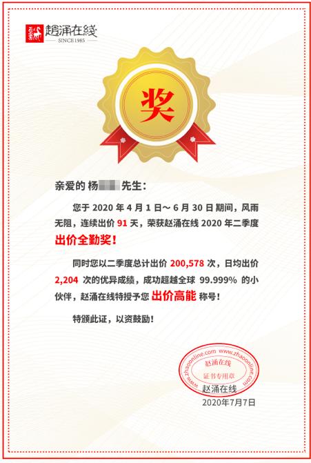 13位用户喜提赵涌在线二季度出价全勤奖