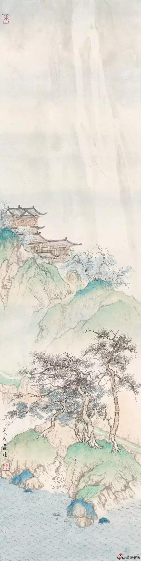 《春江画阁》 纸本设色 93×23cm 2018年