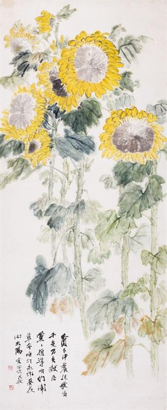 4。王霞宙《永作葵花向太阳》中国画 241cm×97cm 1960年代湖北美术馆藏