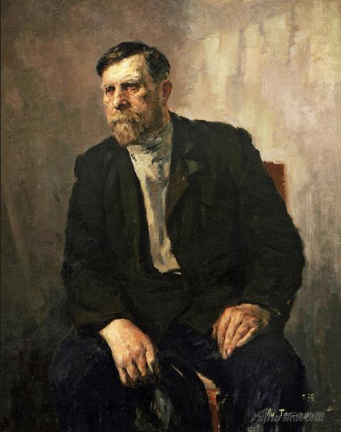 李天祥《 俄罗斯老人》99×78cm 布面油画 1957年