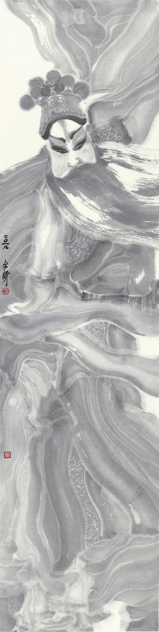 周京新 角色-14 137×35cm 纸本水墨 2018