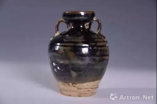金黑釉双系瓷壶