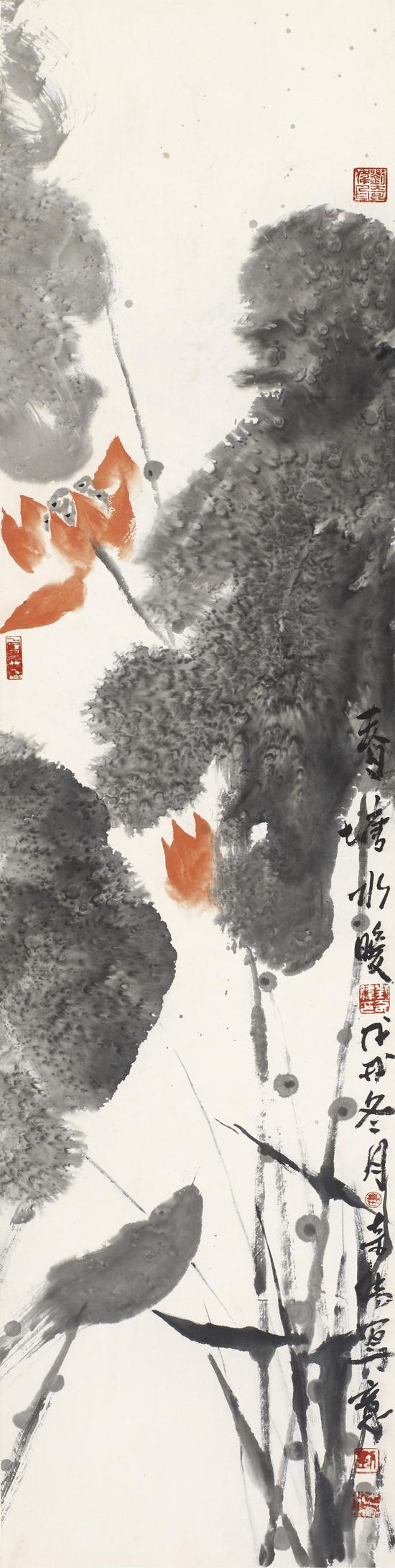 刘奇伟 春塘水暖 136x34cm