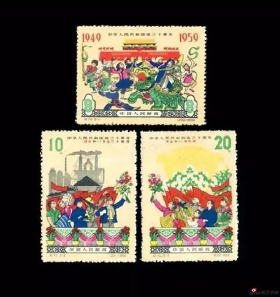 1959年10月1日中国邮电部发行的《国庆十周年》第四组邮票