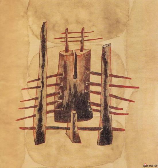 《抬举》,1989年,88*83cm,综合材料