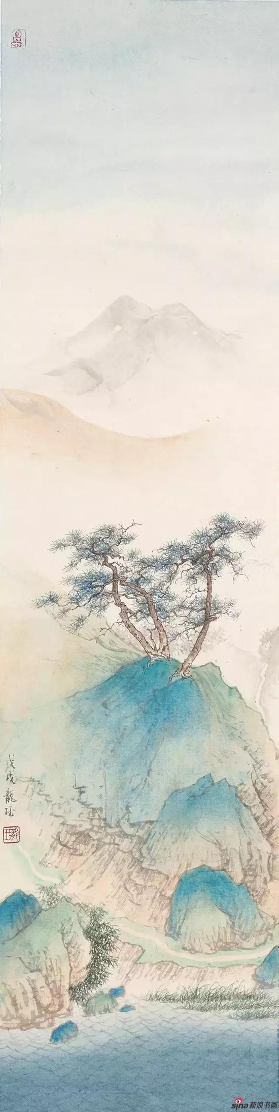 《云藏湖山》 纸本设色 93×23cm 2018年