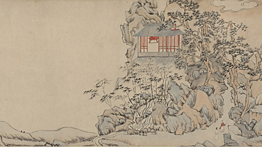 介石书院图卷 文从简(1574—1648) 纵29.5厘米,横67.6厘米