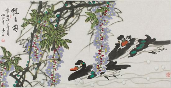 13。陈立言《畅春图》中国画68cm×136cm 2012年 湖北美术馆藏