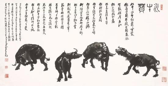 李可染《水牛赞》 68.6×137.2厘米 1985年