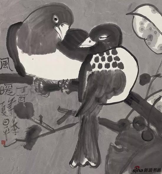 季平 《水墨花鸟写生 风暖》 纸本水墨 2017