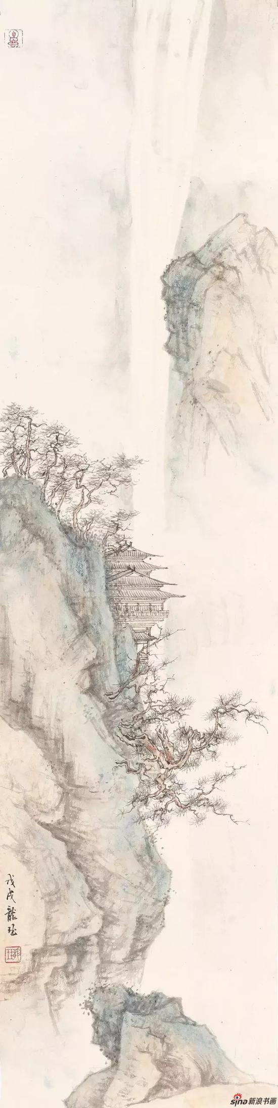《水泻云涛》 纸本设色 93×23cm 2018年