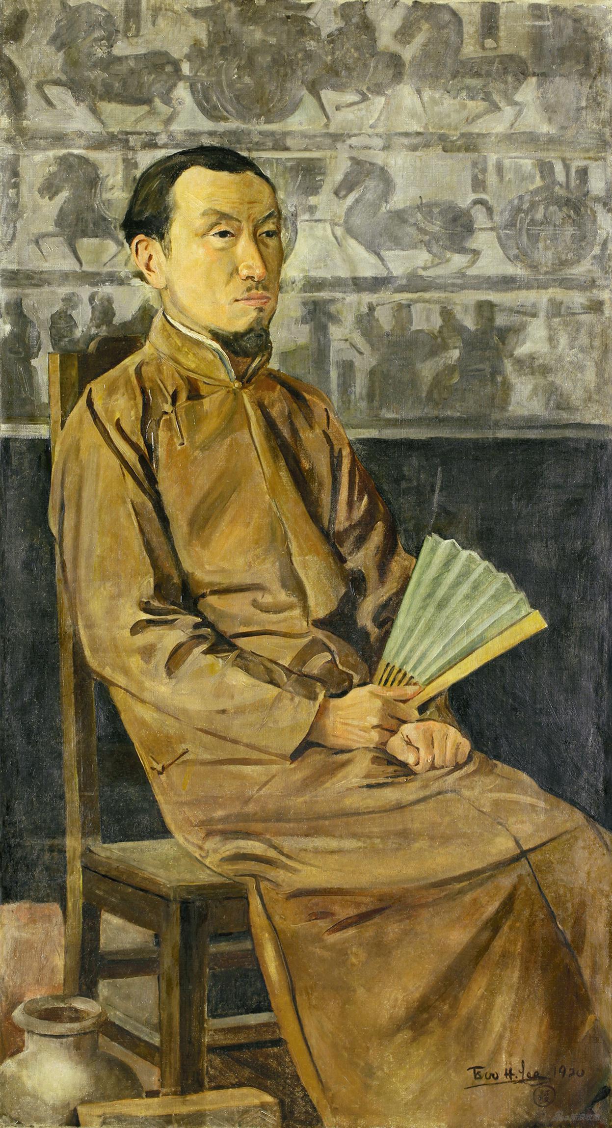陈师曾像 李毅士 1920年 布面油画 中央美术学院美术馆藏