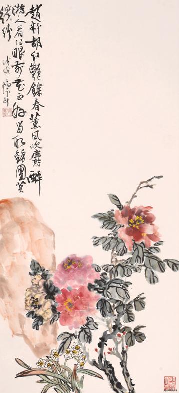 《赵粉胡红艳余春 熏香吹麝醉游人》110×50cm 2018年