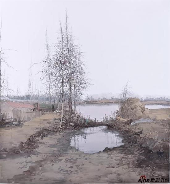 《萧萧池塘暮》 纸本水粉 130cmx141cm 2014年