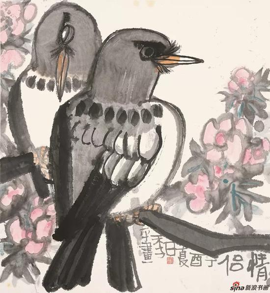 ▲情侣 90 x 90 cm 花鸟水墨