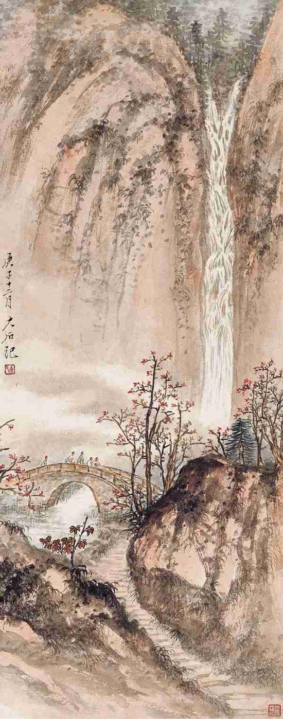 Lot506 唐云 秋山观瀑   镜心 设色纸本   庚子十二月(1961年)作