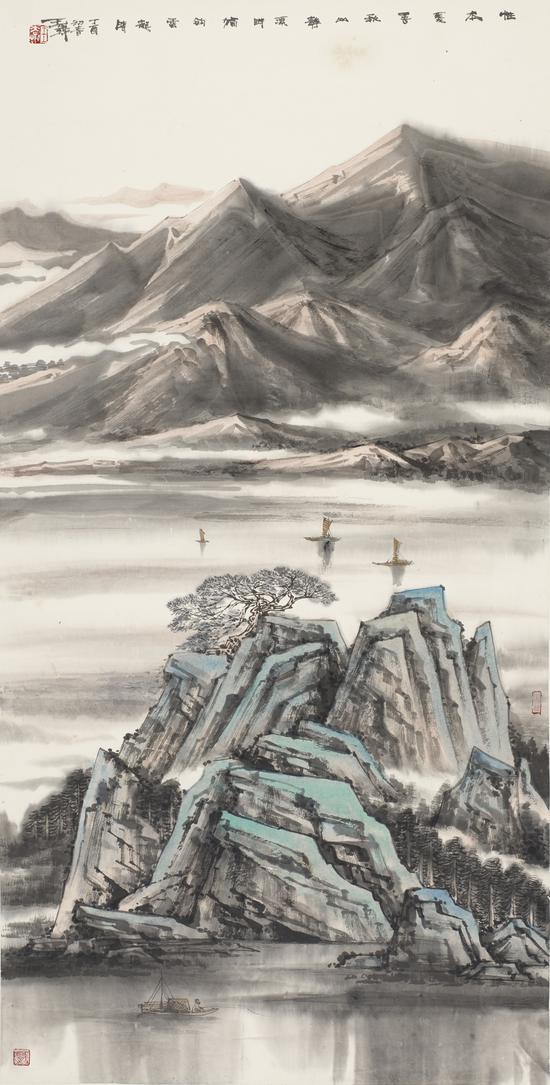 王犇 秋山静溪 138x68cm