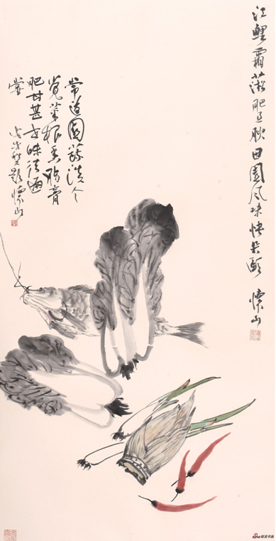 《江鲤霜淞肥且腴》137×68cm 2018年