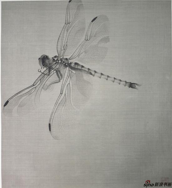 蜻蜓,60×50cm,绢本工笔,2016