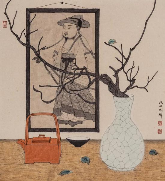 《朱壶丹心》 2018年 50.5 x 46 cm 纸本