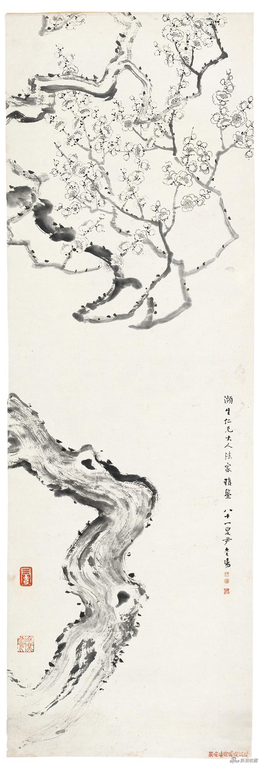 梅图 尹和伯 无年款 131×35.5cm 纸本水墨 北京画院藏