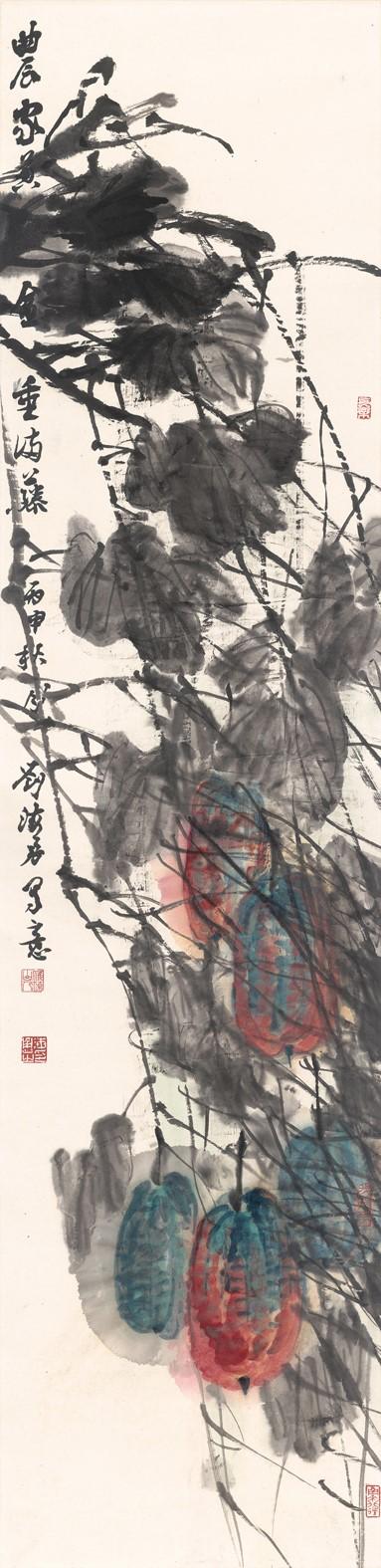 刘海勇《家乡的风》139cm×35cm  纸本设色  2016年