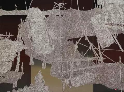 《洪泽湖边运河情》 240cm×180cm 栾 剑 江苏省中国画学会常务理事