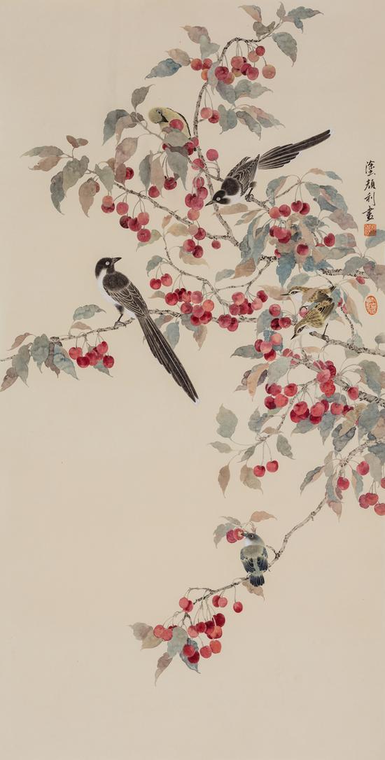 涂颜利,樱桃小鸟,纸本设色,130x66cm,2018