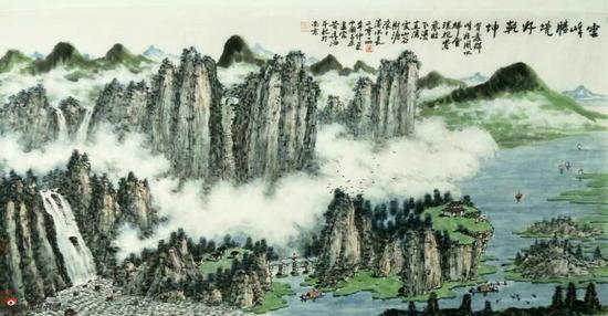 《云峰胜境好乾坤》,69cmX136cm,2014年,黄廷海作