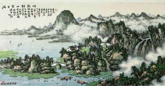 《满目云山好乾坤》,69cmX136cm,2016年,黄廷海作