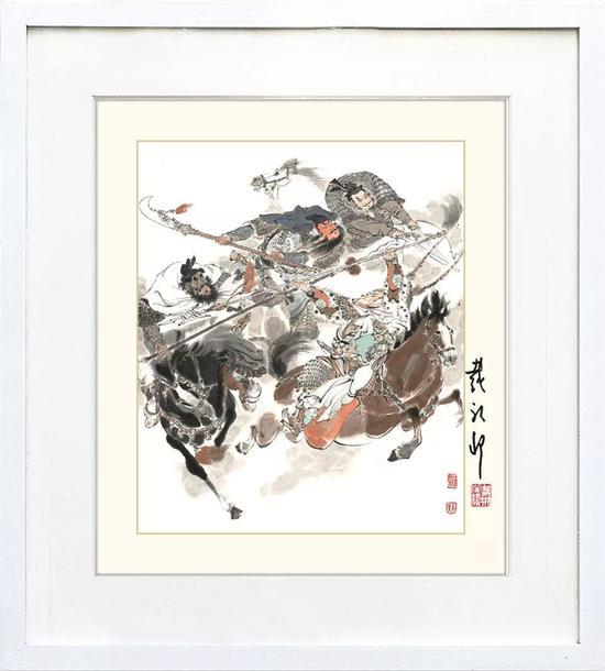 戴敦邦 限量签名版画 《三英战吕布》(外框尺寸:34*34cm),市场价:¥588