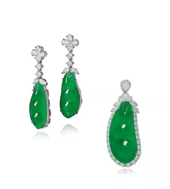 """缅甸天然翡翠""""福豆""""配钻石及   彩色宝石挂坠及耳环套装   成交价:2,124,000港币"""