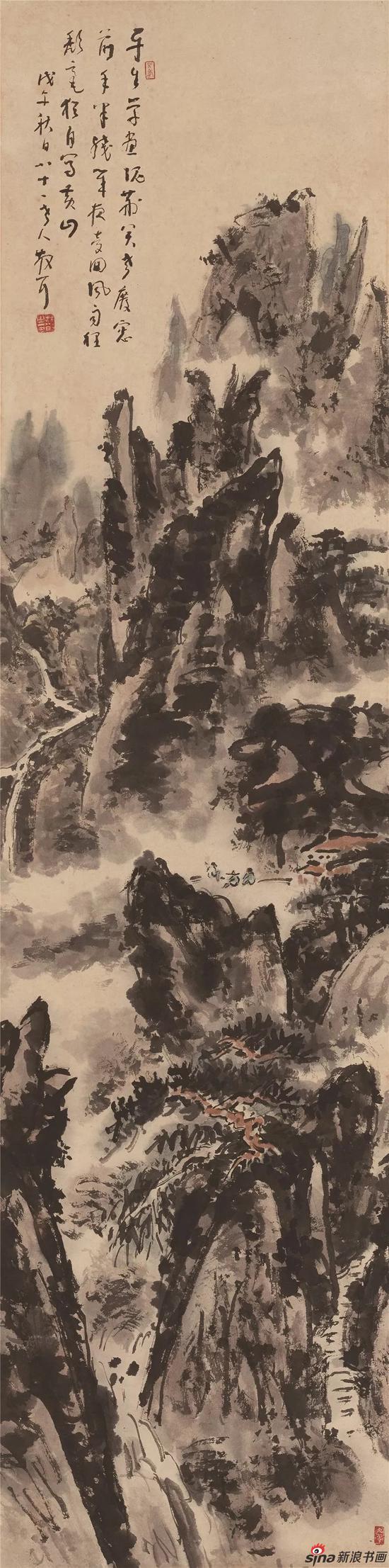 山水 设色纸本 立轴 128×32cm