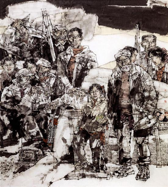 38、曹晓凌《 1978春的开典》,中国画,200cm×180cm ,2016年