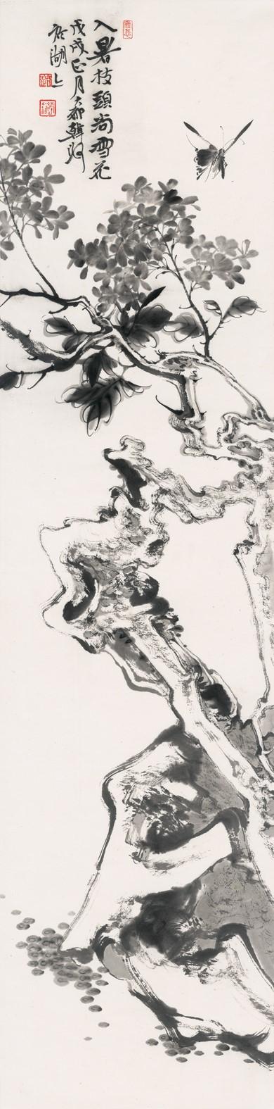 韩璐《五月枝头雪》136cm×34cm  纸本设色  2018年