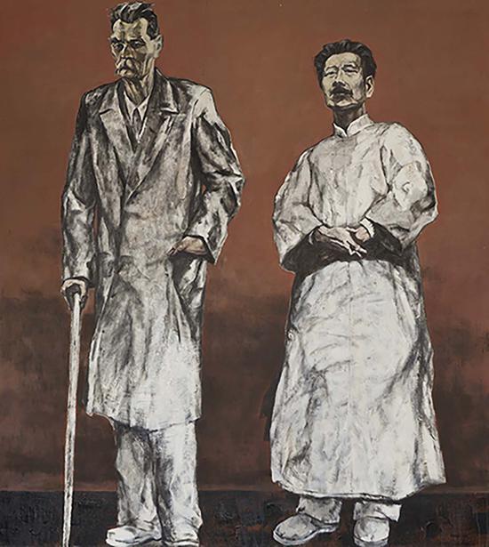 10《左翼文学—鲁迅与高尔基》邓平祥 200cm×180cm 布面油画 2007年