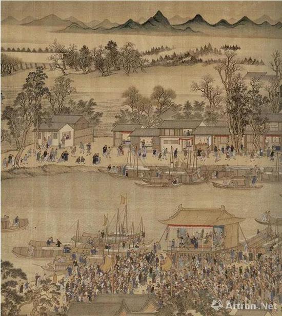 王翚 康熙南巡图 第九卷(局部) 绢本设色   纵67.8厘米 横2227.5厘米 北京故宫博物院藏