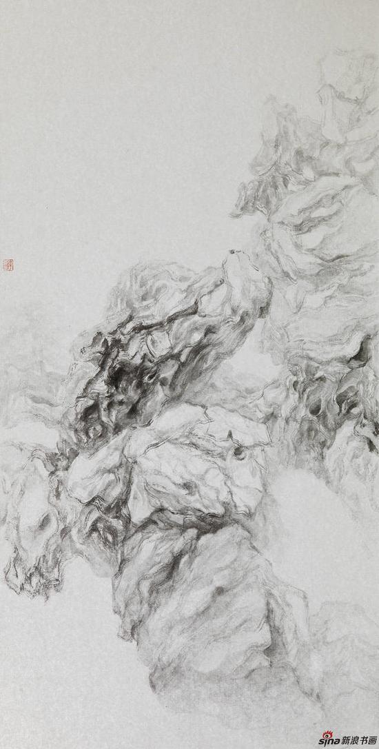 李亚光 《湖之魂》 65cmx40cm 中国画 银卡设色 2017