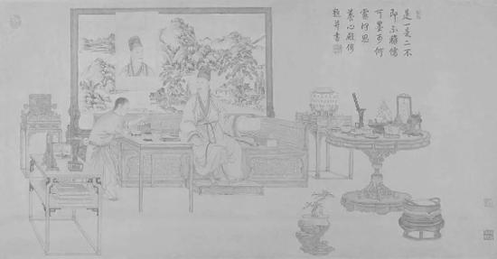 丁观鹏作《弘历鉴玉图》 生动描绘乾隆鉴赏玉器的场景