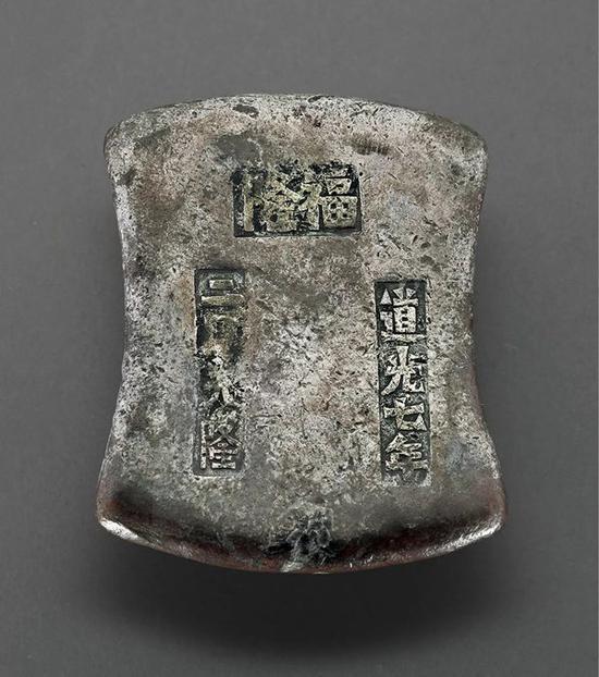 """Lot 1152 清代广东""""福隆 道光七年 二月大隆""""十两砝码锭"""