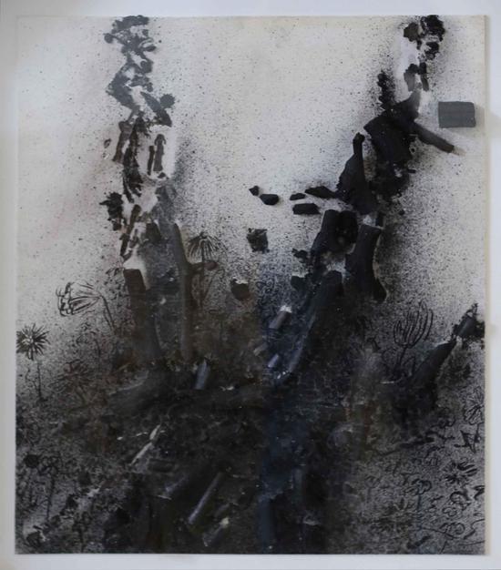 《生命系列 No·4》 综合材料 油画板、木炭、宣纸 59×49cm 2017