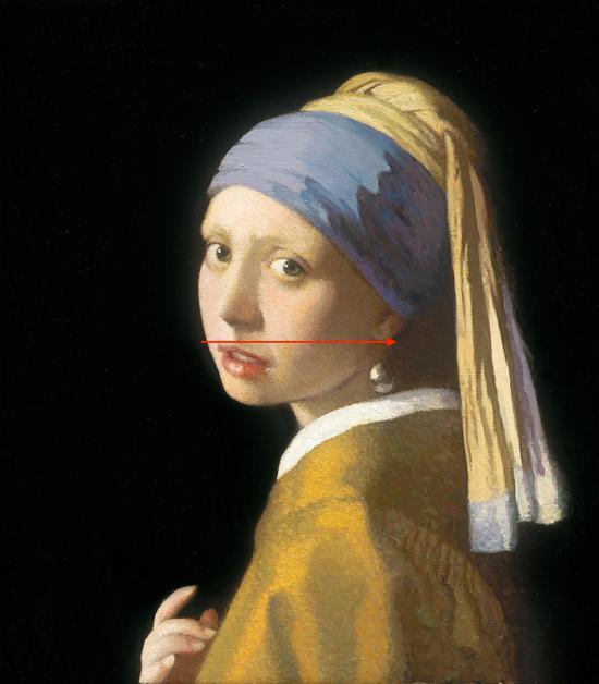 靳尚谊 《 惊恐的戴珍珠耳环的少女》 44x38.4cm 综合版画 2017年